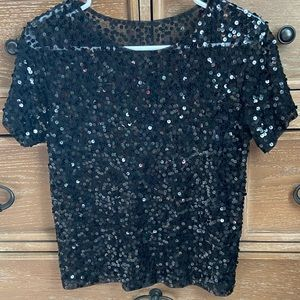 Sequin Top, Black, Boxy Cut, Shimmery, Size Medium